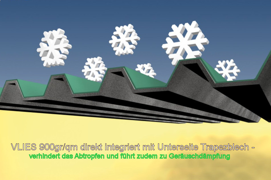 stahlblechprofil m vlies tropfschutz antikondensat entdr hnschicht der dachplattenprofi. Black Bedroom Furniture Sets. Home Design Ideas