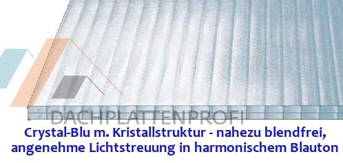 CRYSTAL-BLU Stegdreifachplatte PC 16 mm