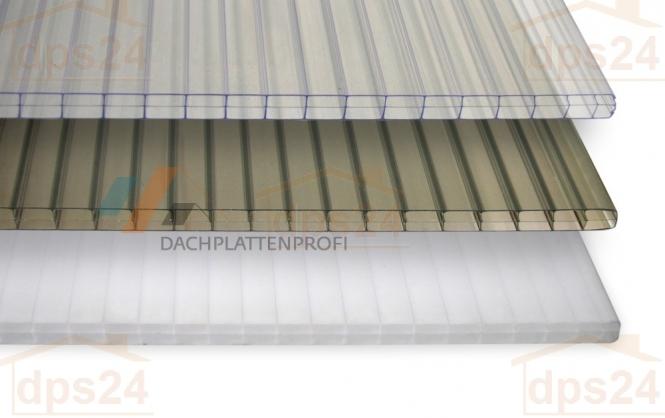 Stegdreifachplatte PC bronziert od. opal 16 mm
