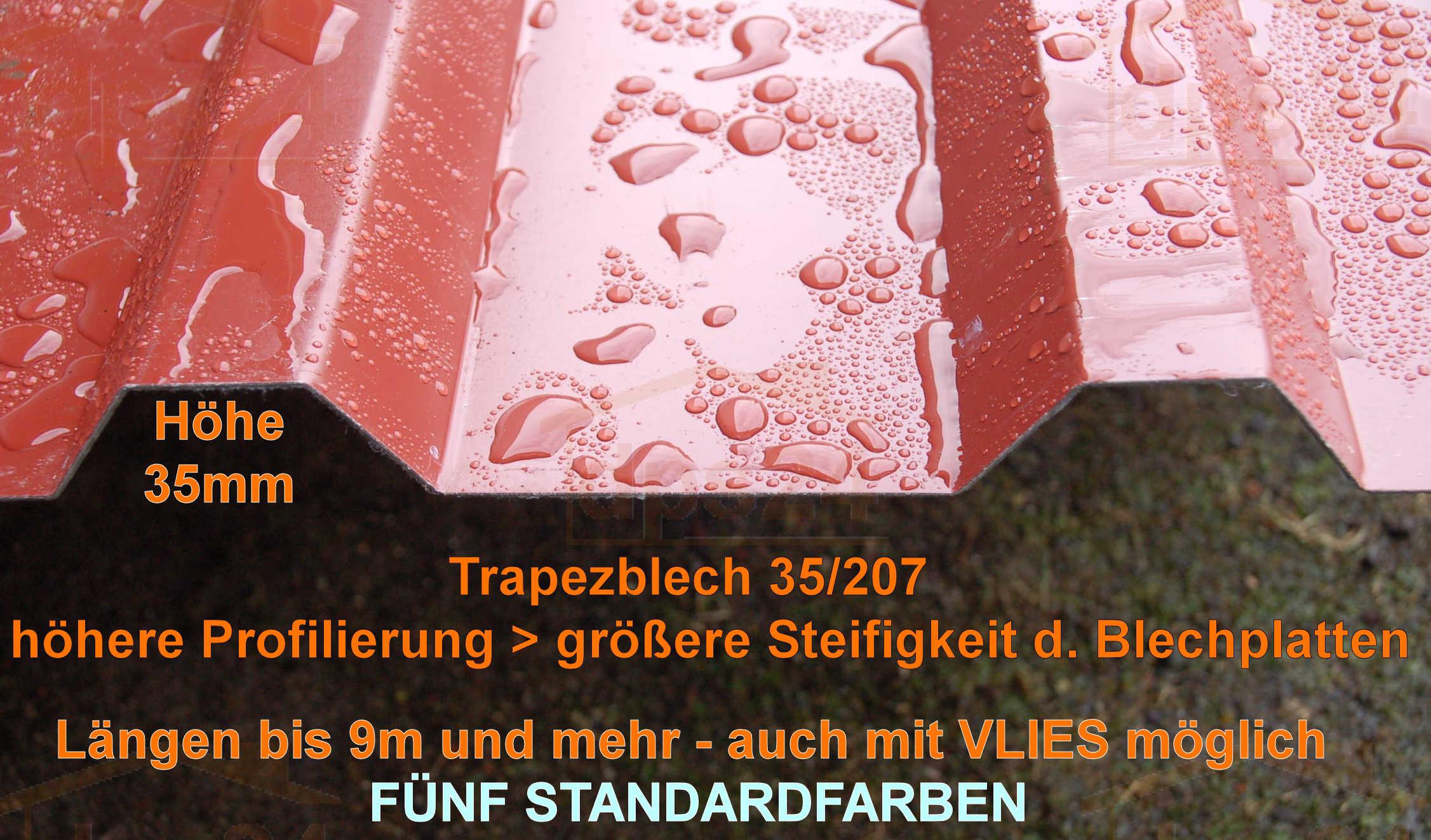 trapezblech hohes profil 35 207 soposten mit vlies in sonderposten stahlblech der. Black Bedroom Furniture Sets. Home Design Ideas